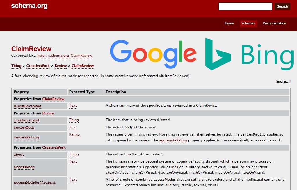 Google Bing Schema claimReview