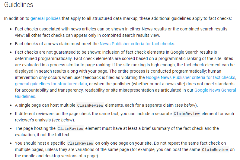 Guidelines of Google claimreview markup