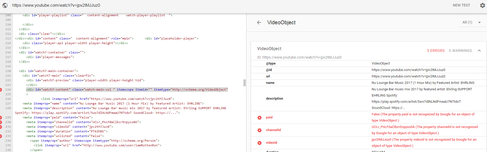 Viceo object testing tool schema