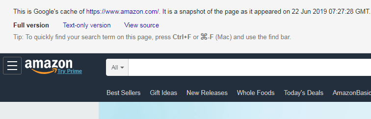 Google cache of Amazon